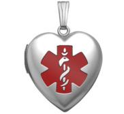 Sterling Silver Medical ID Heart Locket