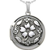 Sterling Silver Round Antique Locket Picture Locket