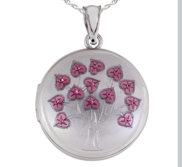 Sterling Silver Pink Enameled Flowers Round Photo Locket