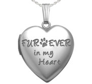 Sterling Silver   Fur ever in my heart   Heart Locket