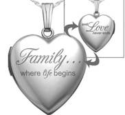 Sterling Silver  Family Love  Heart Photo Locket