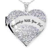 Sterling Silver Personalized Cubic Zirconia Pave Heart Locket