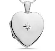 Sterling Silver HEART   Genuine Diamond Heavy Weight Locket