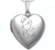 Sterling Silver  Mom and Daughter  Heart Locket