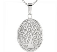 Sterling Silver Tree of Life Oval Photo Locket