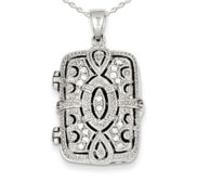 Sterling Silver Square Locket w  Cubic Zirconia