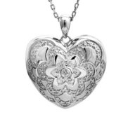 Sterling Silver Diamond Photo Heart Locket w  Hand Engraving