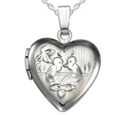 Sterling Silver Heart Love Birds Picture Locket