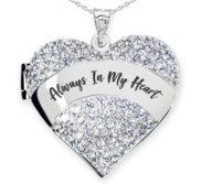 Sterling Silver   Always In My Heart   Cubic Zirconia Pave Heart Locket