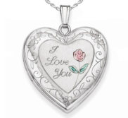 Sterling Silver  I Love You with Enamel Flower   Heart  Locket