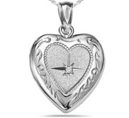 Sterling Silver Heart Picture Locket W  Genuine Diamond