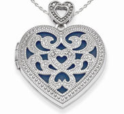 Sterling Silver Vintage Heart Locket w  Diamond