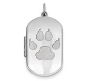 Sterling Silver Dog Tag Cat Paw Locket