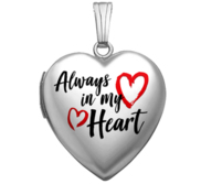 Sterling Silver Always In My Heart Enameled Locket