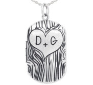 Sterling Silver Dog Tag Couples Tree Carving Photo Locket