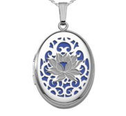 Sterling Silver  Blue Faced  Oval Pierced Lotus Locket