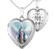Sterling Silver Miraculous Medal Heart Locket