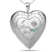 Sterling Silver  I Love You   Rose  Heart  Locket
