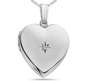 Sterling Silver Heart Locket w  Diamond