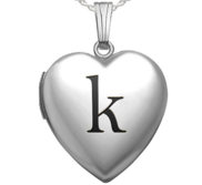 Sterling Silver Heart Locket w  Black Initial