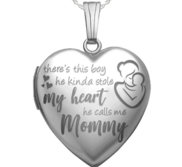 Sterling Silver   He Calls Me Mommy   Heart Locket