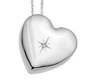 Sterling Silver Side Dangle Heart Locket with Cubic Zirconia