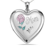 Sterling Silver  MOM with Enamel Flower   Heart  Locket