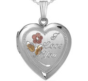Sterling Silver  I Love You  Heart Photo Locket