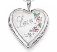 Sterling Silver Love Rose Heart Locket with Pink and Green Enamel