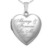 Sterling Silver   Always   Forever In my Heart   Heart Photo Locket