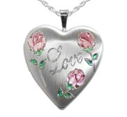 Sterling Silver Love with Rose Heart Photo Locket