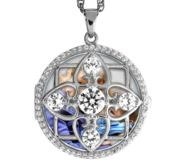 Sterling Silver Round Photo Locket with Cubic Zirconias