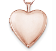 Rose Gold Plated Classic Heart Locket w  Free Laser Photo Engraving   18  Chain