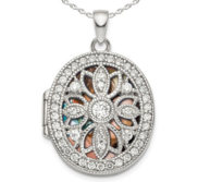 Sterling Silver Pierced Oval Photo Locket with Cubic Zirconia