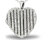 Premium Heavy Weight Sterling Silver Heart Locket W  Cubic Zirconia