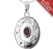 Sterling Silver Hand Engraved Foral Border w  Birthstone Locket