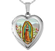 Sterling Silver Our Lady Of Guadalupe Heart Locket