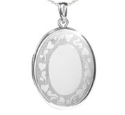 Sterling Silver Floral Heart Border Oval Photo Locket