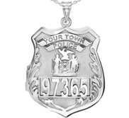 Sterling Silver Personalized Police Badge Locket