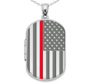 Sterling Silver Thin Red Line Dog Tag Photo Locket