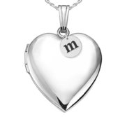 Sterling Silver Heart Photo Locket with Personalized Initial Charm