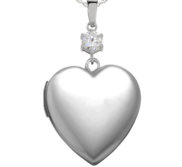 Sterling Silver  Sweetheart  CZ Accent Heart Locket