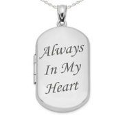 Sterling Silver Always In My Heart Dog Tag Photo Locket