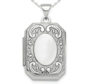 Sterling Silver Fancy Scroll Rectangle Photo Locket