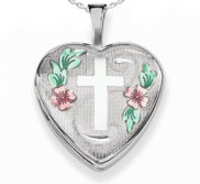 Sterling Silver Enameled Cross   Flowers Heart Locket