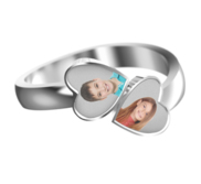 Photo Engraved Double Heart Shaped Ring