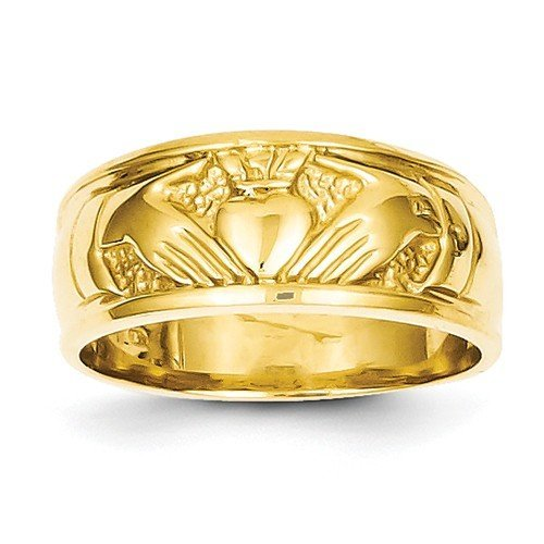 Mens Claddagh Ring Solid 14k Yellow Gold Irish Celtic Band Polished Genuine Sizes Available