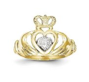 10K and Rhodium Ladies Claddagh Ring