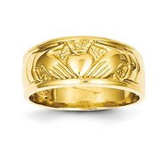 14K Polished Unisex Yellow Gold Claddagh Ring