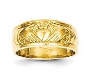14K Polished Unisex Yellow Gold Claddagh Ring
